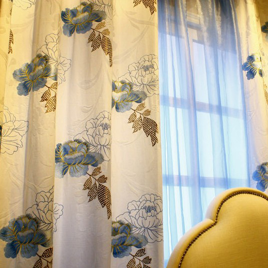 Exclusive Blue Floral Printed White Cotton Curtains , Buy White ...