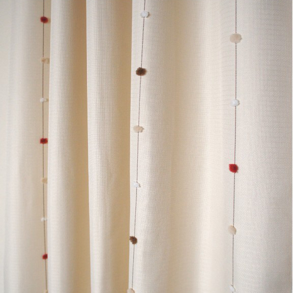 ivory flocking cotton blackout curtains for kids