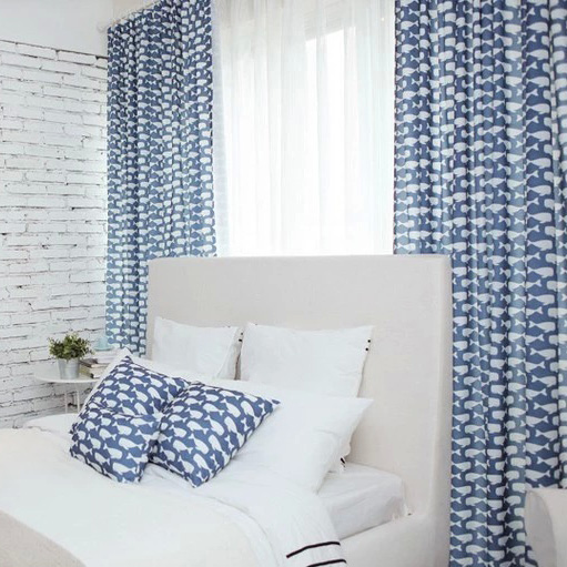 Captivating Whale Blue And White Polyester Curtains For Kids Print