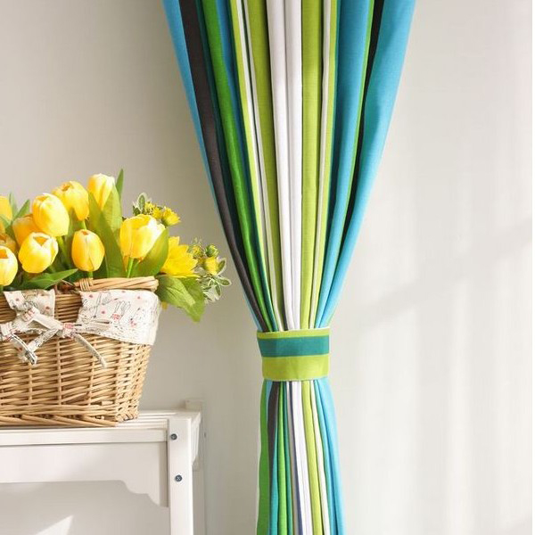 Green Curtains blue and green curtains : Special Design Striped Blue Cotton Ordinary Shading Curtains , Buy ...