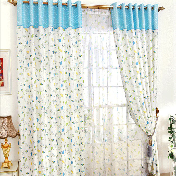 Classic Umbrella Printed Poly and Cotton White Curtains for Kids