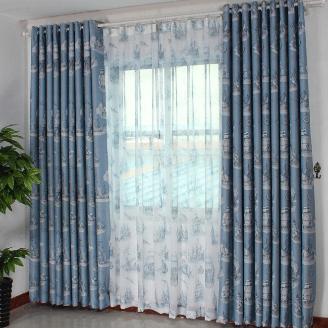 Boys Favorite Boats Printed Poly Blending Blackout Curtains