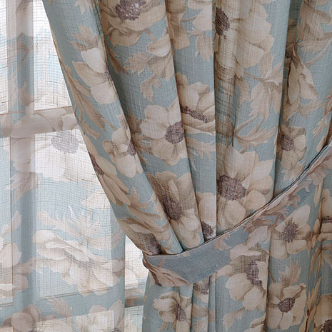 Peaceful Countryside Floral Printed Cotton Light Blue Curtains ...