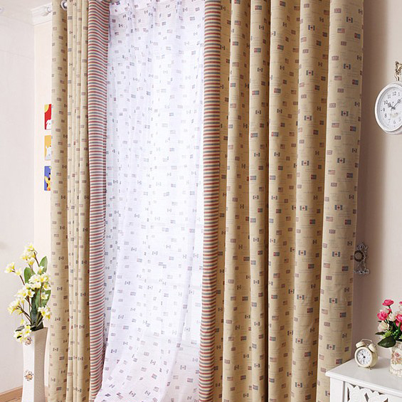 ... American Style Country Geometric Living Room Curtain. Loading Zoom