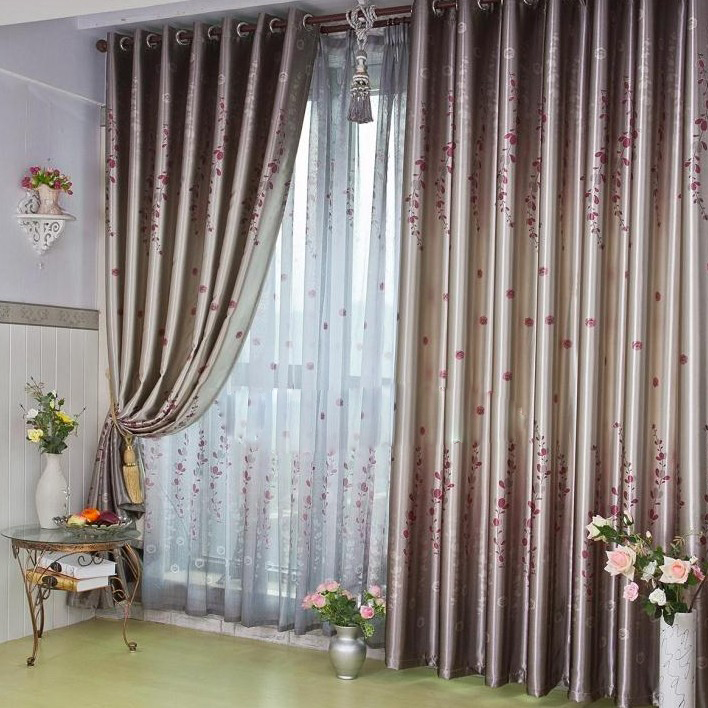 Loading Zoom. Beautiful Draped Flower Blended Materials Thermal Curtains ...