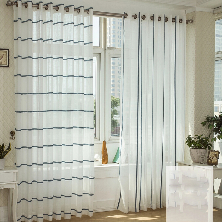 white sheer curtains with blue lines loading zoom