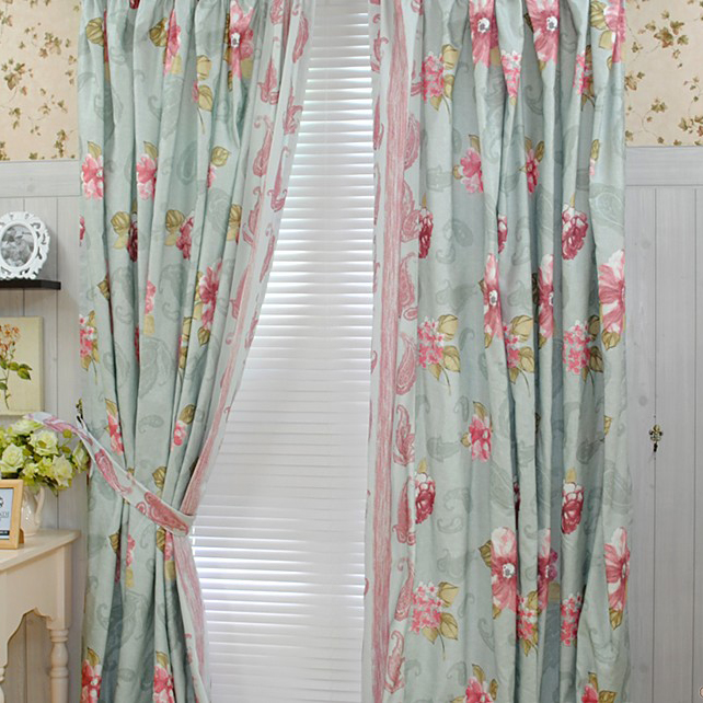 bedroom country girls like cotton blending curtains two panels