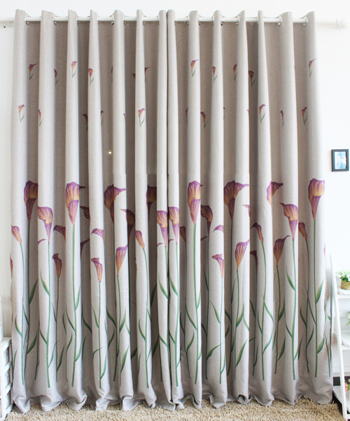 Loading Zoom Blackout Country Curtains With Lily Printed Blended Materials