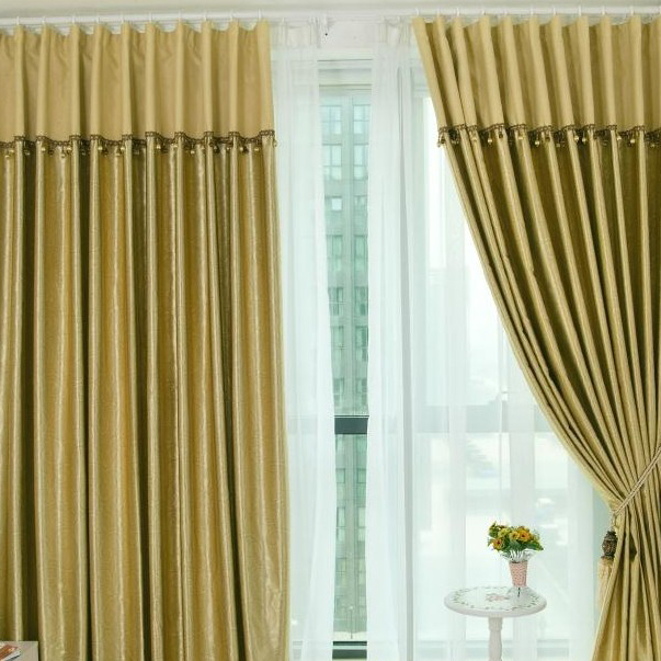 Blackout Gold Living Room Polyester Curtains for Thermal