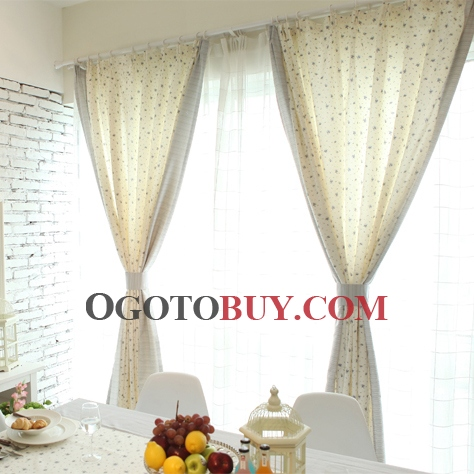 Blue Little Floral Printed Ivory Cotton Blackout Curtains