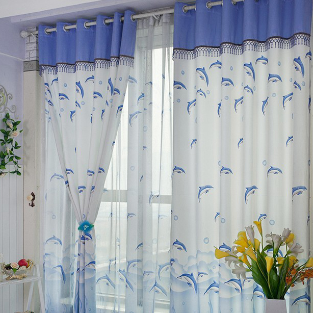 Blue and white polyester eco friendly kids curtains two panels c0762