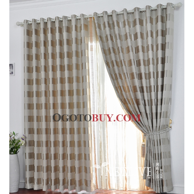 Casual Silver Gingham Totally Blackout Curtains , Buy Silver Print ...