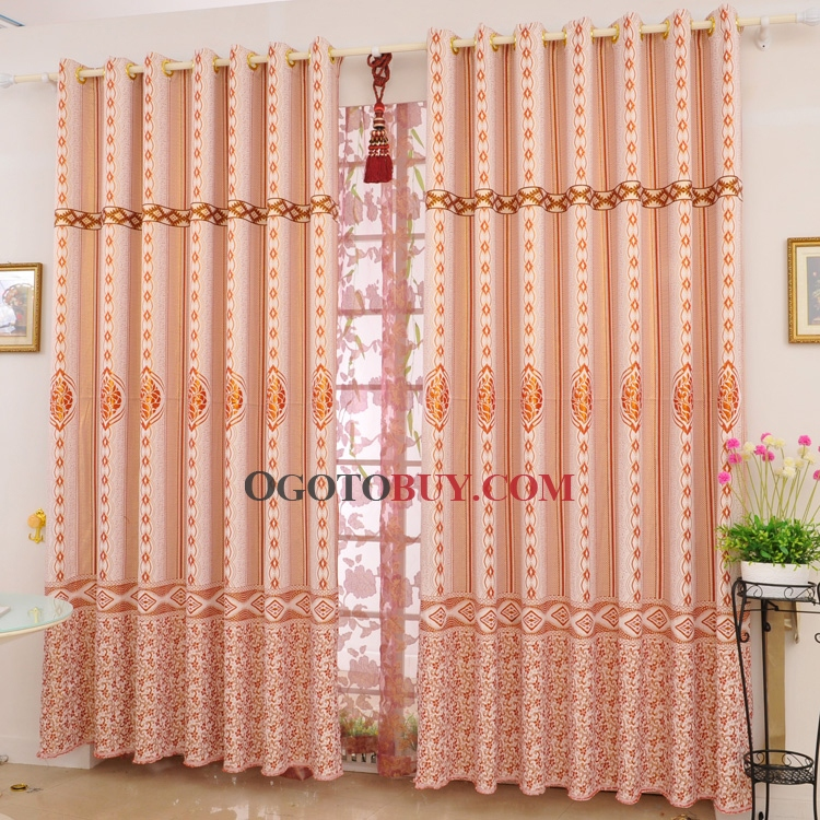 Charming Floral and Geometric Orange Red Blackout Curtains (Two Panels)