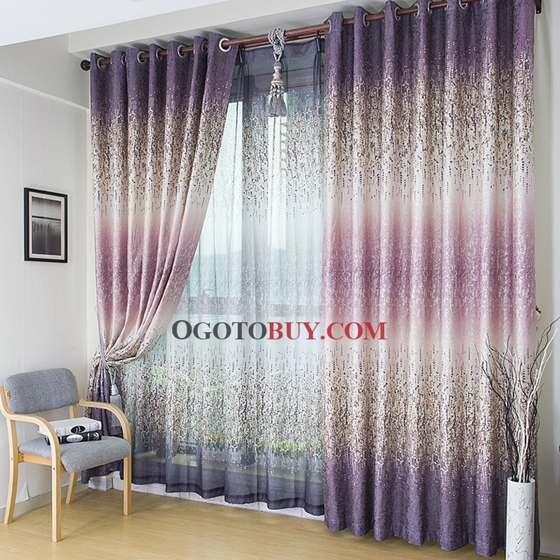 Charming Modern Particle Purple Thermal and Sound-proof Curtains