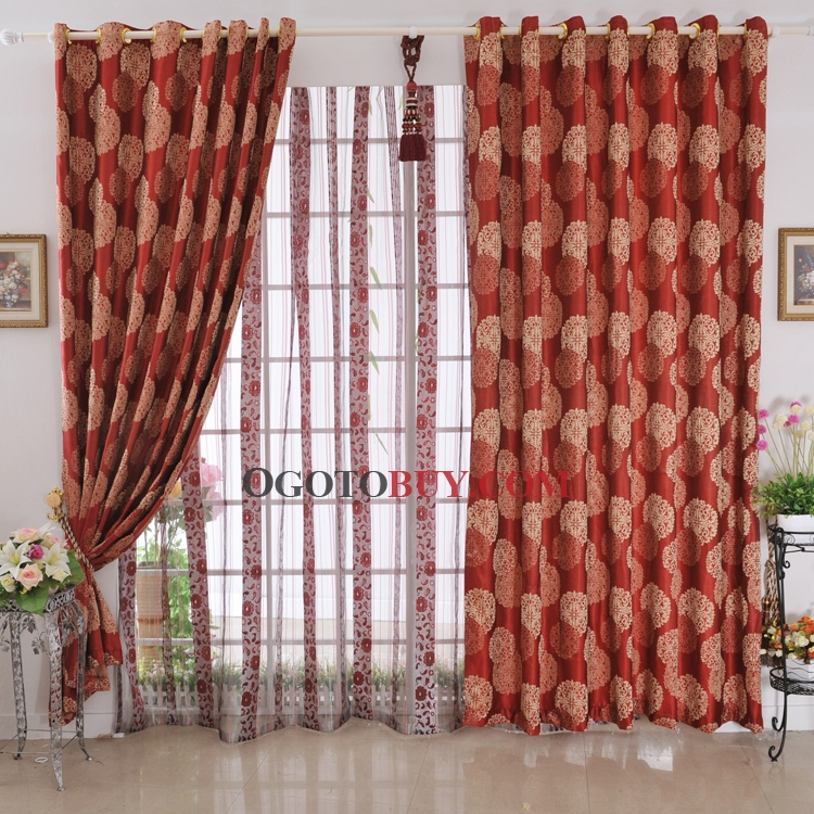 Charming Printed Patterns Blackout Red Curtains , Buy Red Print ...