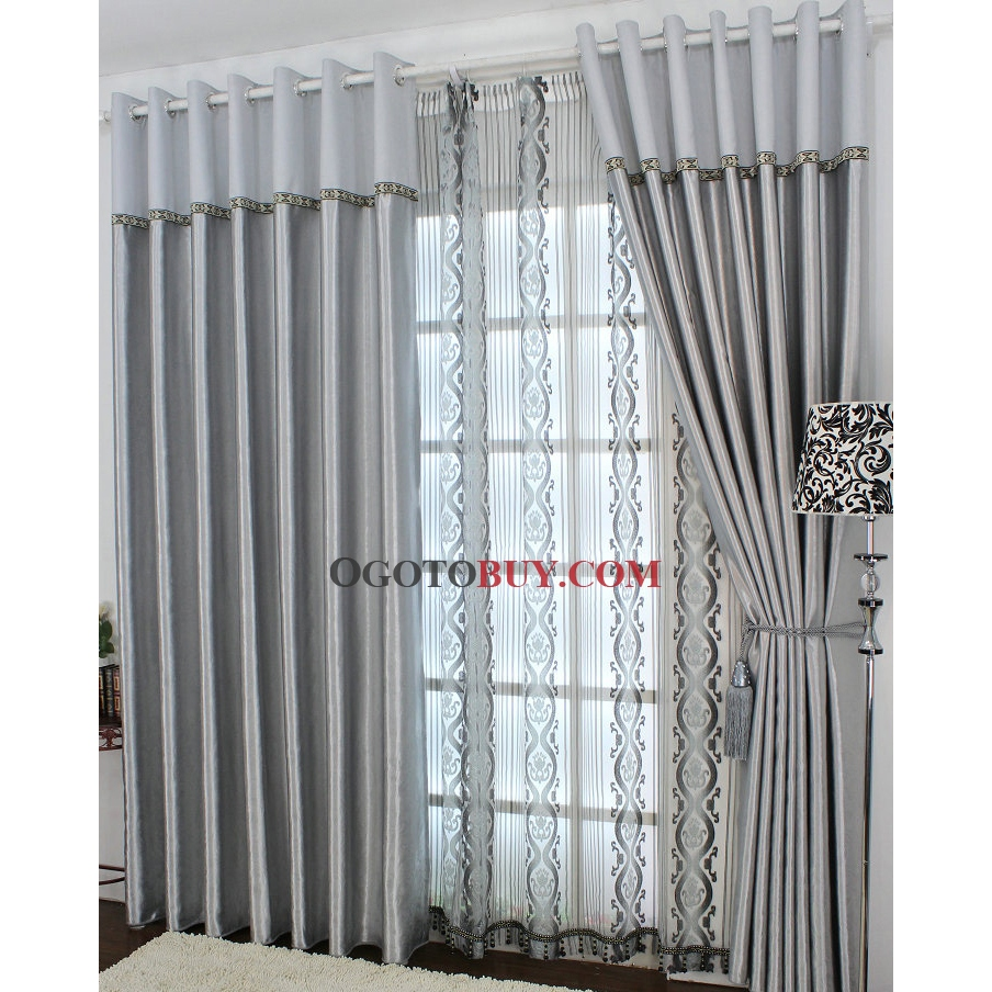 Charming Silver Blackout Floral Curtains