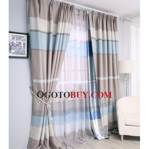 Elite Cheap Custom Black Striped Living Room Baby Blue Curtains