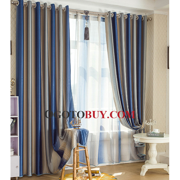 Custom Blue And Silver Striped Nautical Blackout Long Curtains Loading Zoom