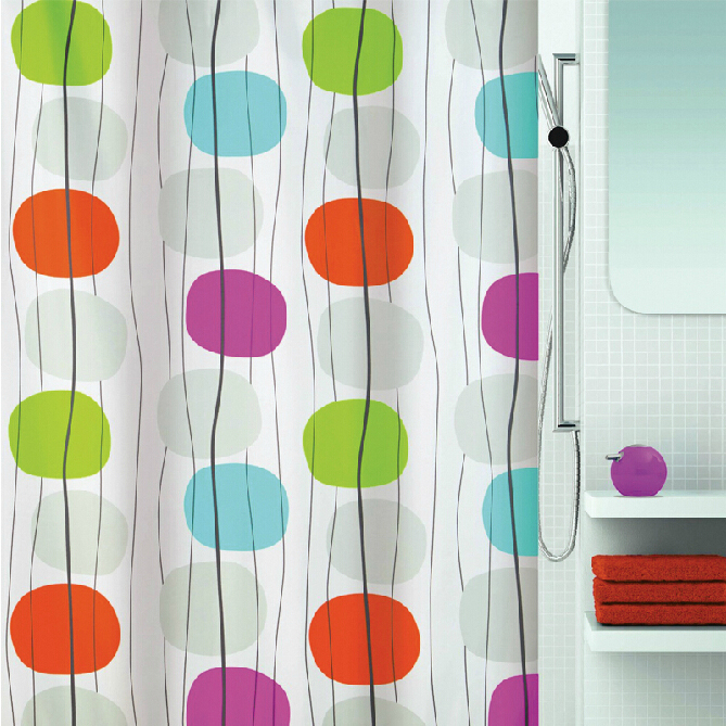 Circles Lines Clear Shower Curtain with Design, Buy White ...