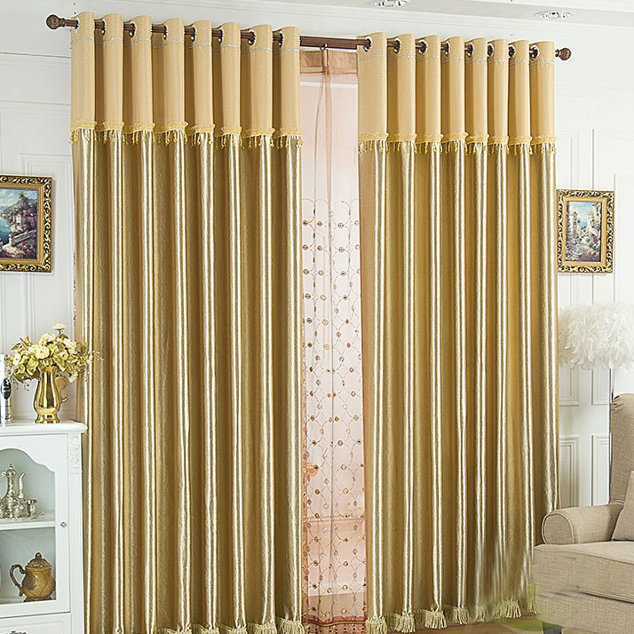 ... Gold Polyester Blackout Curtains For Living Room. Loading Zoom
