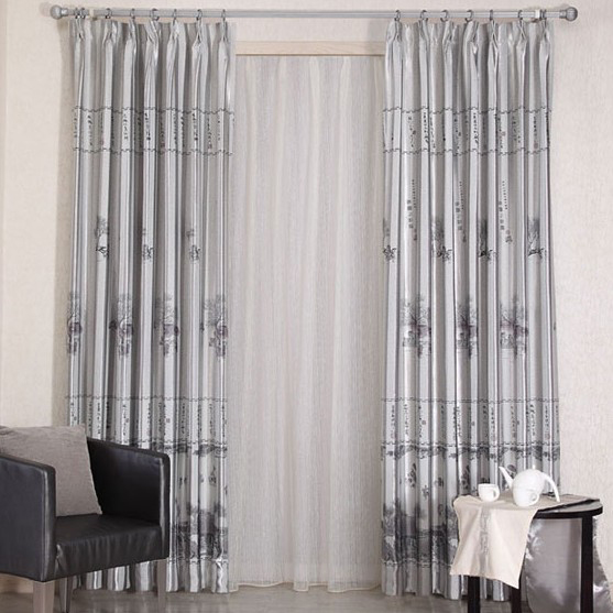 Classic Grey Linen and Poly Blended Materials Living Room Curtains