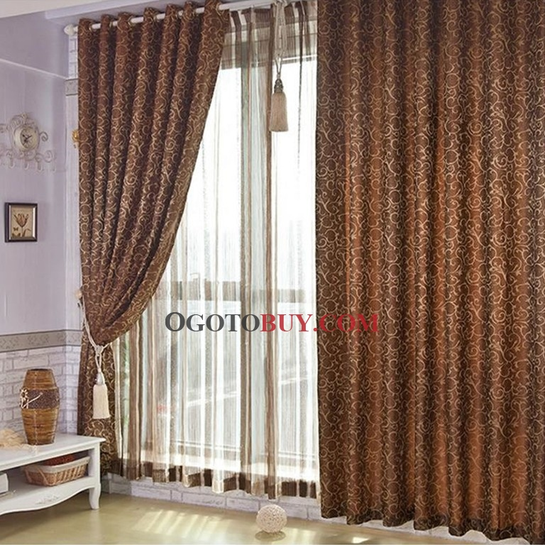 Classic Style Energy Saving Polyester Brown Curtains