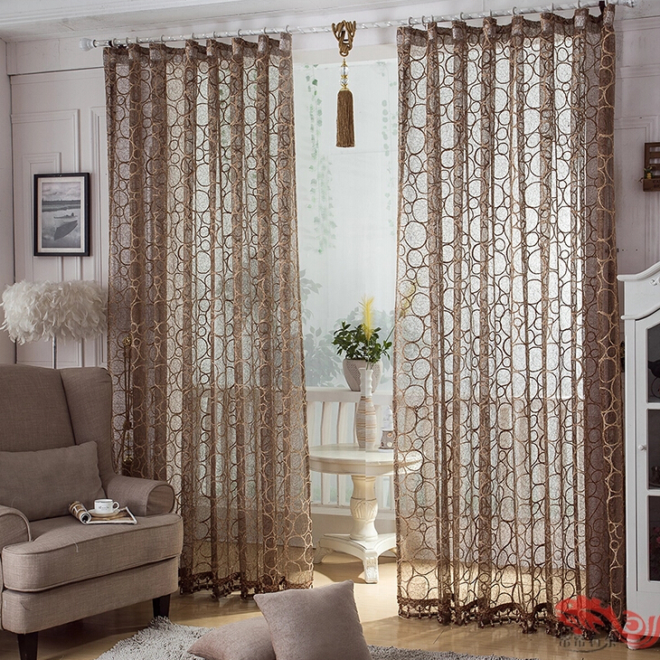 Elite Coffee Colored Custom Made Living Room Sheer Curtains