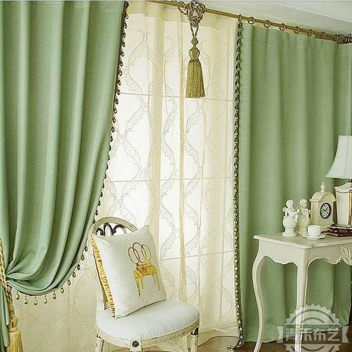 Concise Green Print Blackout Heat Insulation Living Room Curtain ...