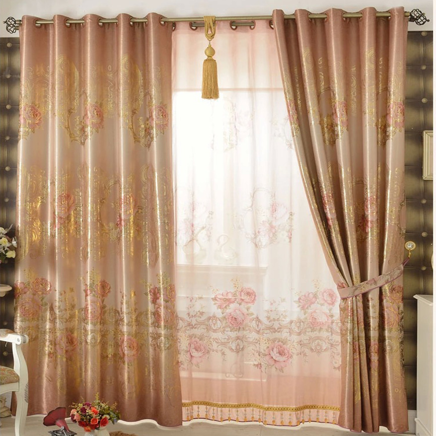beige jacquard embossed blackout curtains