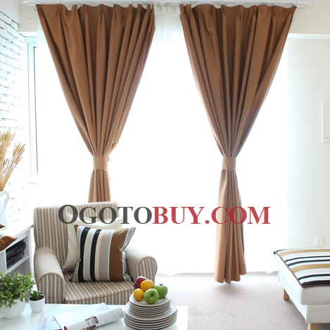 Contemporary Chocolate Polyester Blackout Thermal Curtains , Buy ...