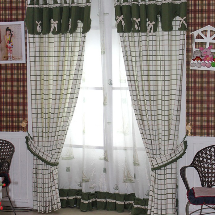 paese verde plaid e check bow tie tende camera da letto per le ... - Tende Country Per Camera Da Letto