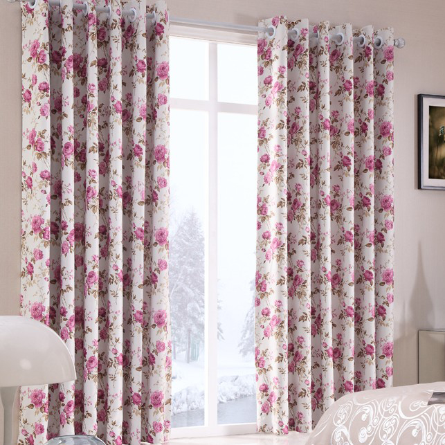 alfa img showing floral bedroom curtains