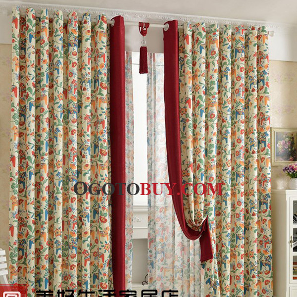 Curtains Ideas curtains for cheap : Country Rustic Orange And Green Floral Curtains Online, Buy Orange ...