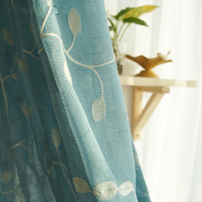 Country Style Embroidery Leaf Custom Sheer Curtains, Buy Blue ...