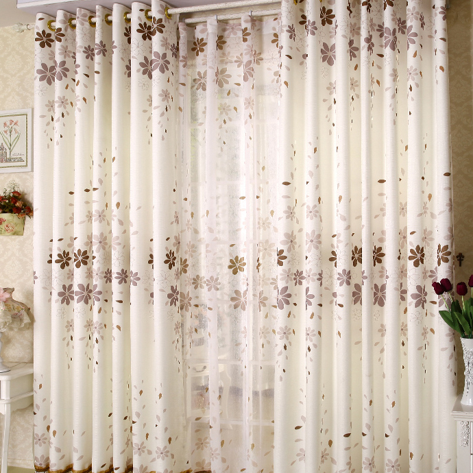 Country Style Leaf Printed White Bedroom or Living Room Curtains