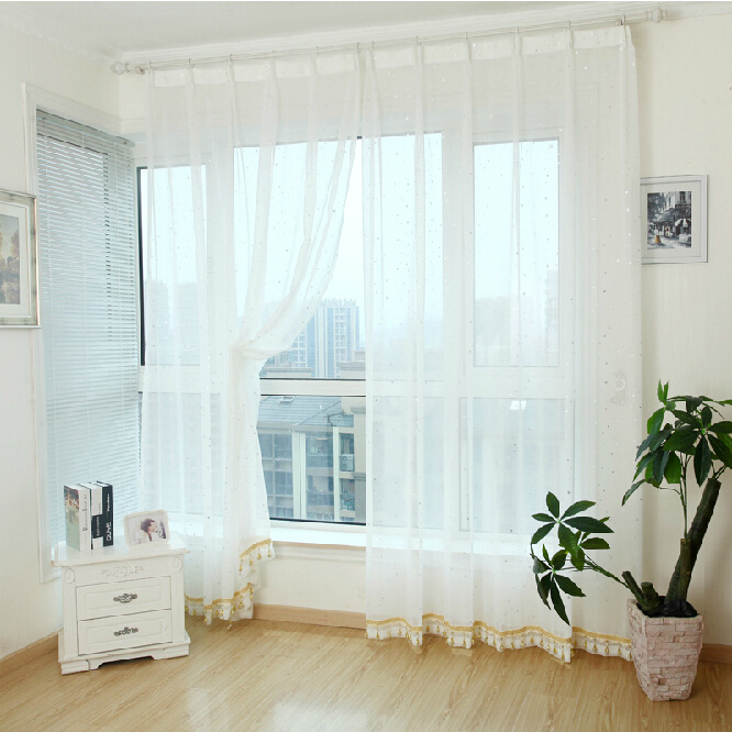 Loading Zoom. Cute Star Pattern White Sheer Curtains ...