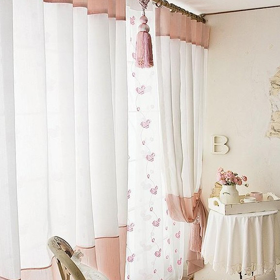 Cute White Sheer Poly and Cotton Blend Bedroom Curtains , Buy Pink ...