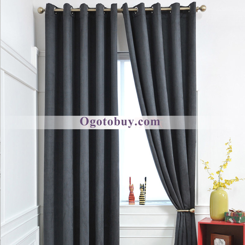 ... Grey Solid Faux Suede Polyester Bedroom Curtains. Loading Zoom