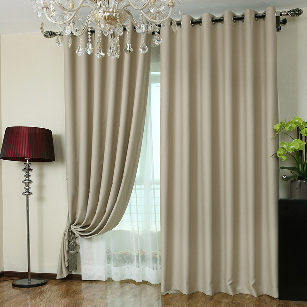 Deep khaki blackout curtains made of polyester