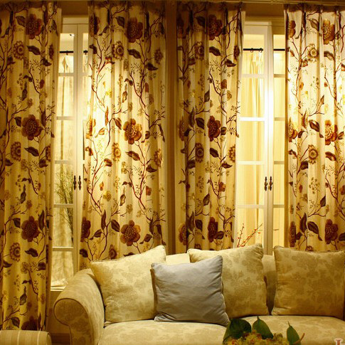 Dramatic Floral Embroidery Linen and Cotton Blend Curtains , Buy ...