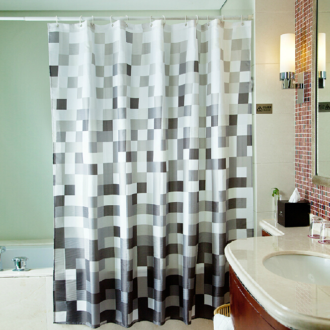 Eco-friendly Bathroom Black and White Mosaic Shower Curtain, Buy ...
