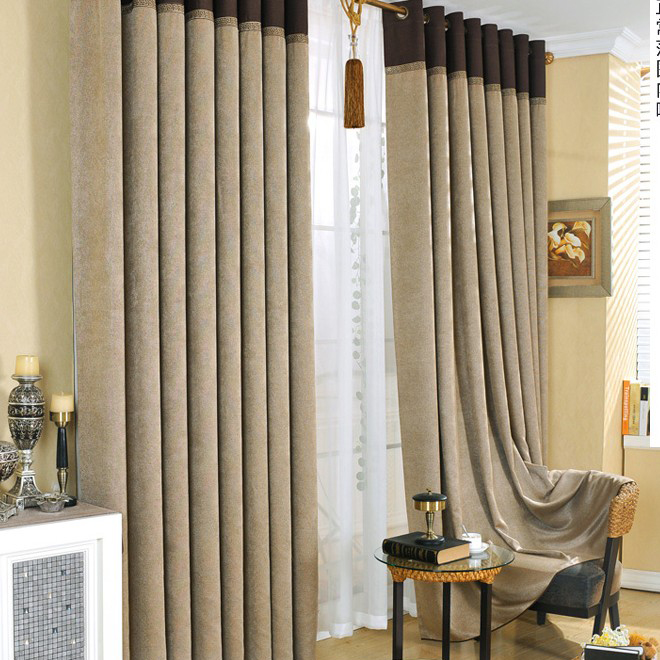 Eco-friendly Curtains Made of Artificial Fiber in Coffee