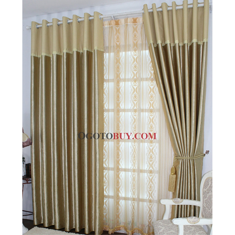 Eco-friendly Cortinas com Champagne Cetim Jacquard