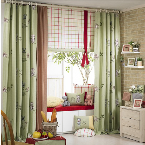 Eco-friendly Green Embroidery Ordinary Blackout Curtains of Cotton for Kids