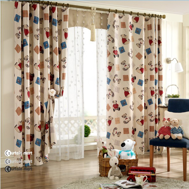 Eco-friendly Kid Bear Printed Cotton Blackout Curtains