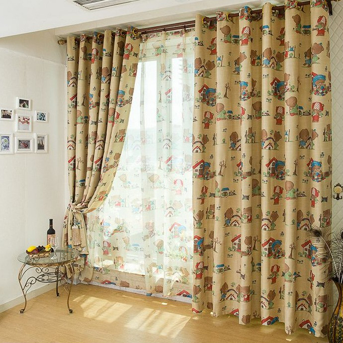 Eco-friendly Polyester Bedroom Curtains with Bears Printing