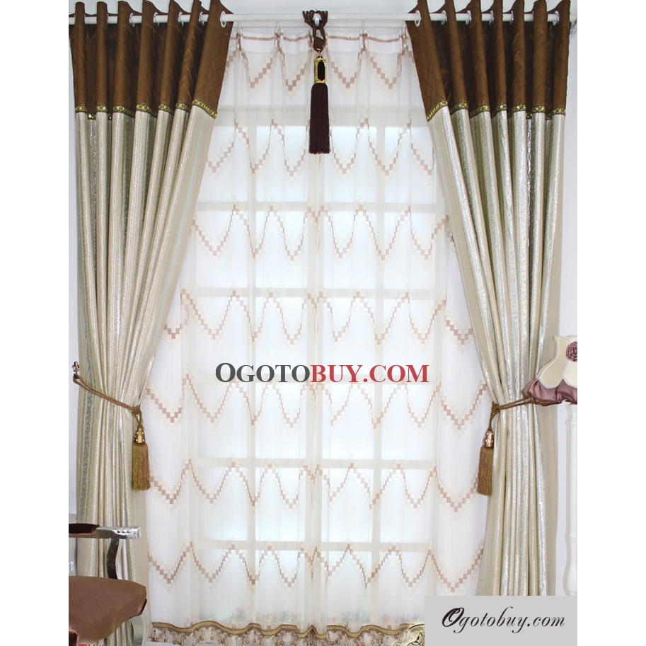 Light brown curtains - Elegant Brown Curtains With Floodlight Striped