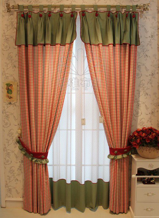 England Style Red Plaid Country Cotton Curtains , Buy Brick Red ...