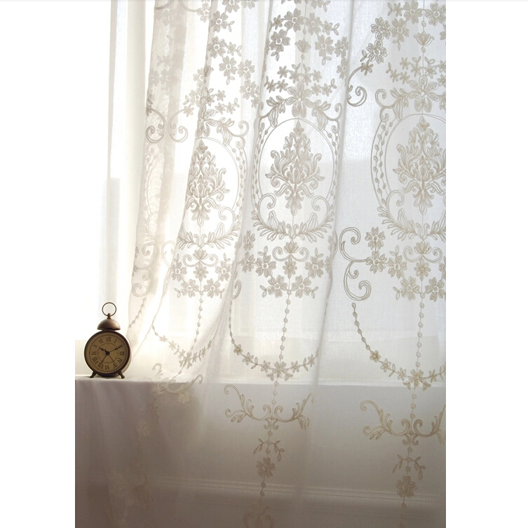 White Eyelet Embroidered Curtains Window Curtains Drapes