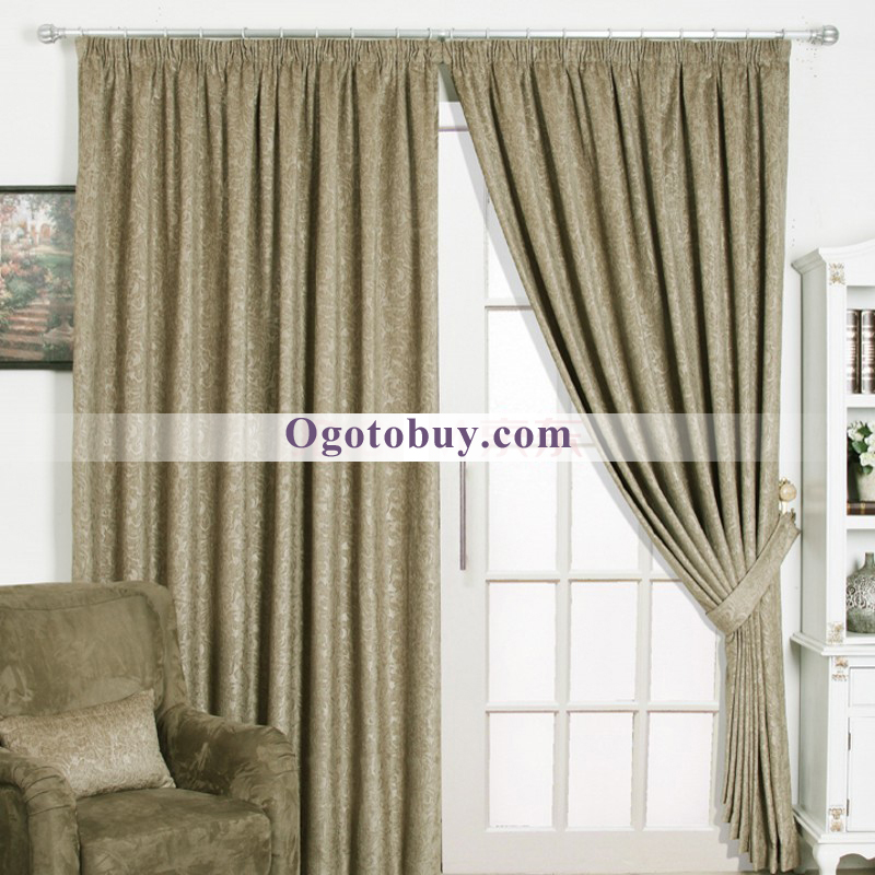 Fancy Brown Living Room Curtains with Chenille Fabric of Embossed